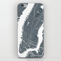 new york map iPhone & iPod Skins featuring New York City map by Studio Tesouro