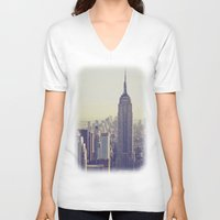 nyc V-neck T-shirts featuring NYC by Chernobylbob