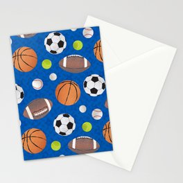 Sports Balls Pattern - Blue  Stationery Cards