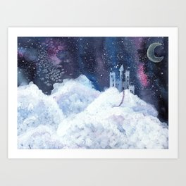 castle in the galaxy painting Art Print