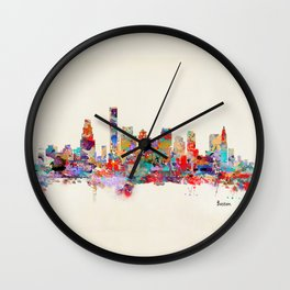 Boston city watercolor Wall Clock