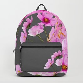 FUCHSIA PINK COSMOS GREY FLORAL DESIGN Backpack
