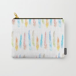 Wild and Free Watercolor Feathers Pattern Carry-All Pouch
