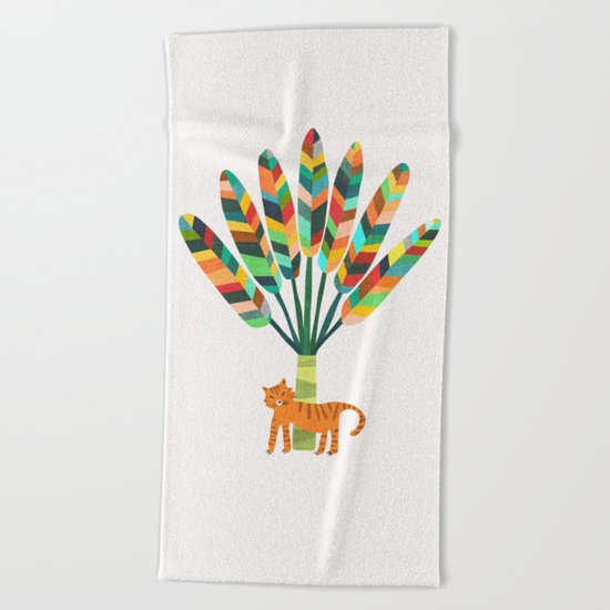 Whimsical travelers palm with tiger Beach Towel