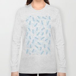 Baby blue white hand painted floral illustration Long Sleeve T-shirt