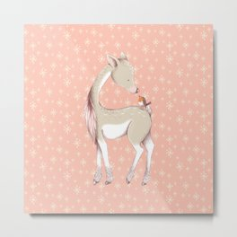 Sweet deer with robin Metal Print
