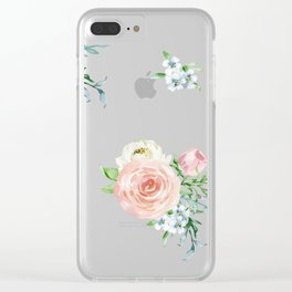 Watercolor floral background pastel colors Clear iPhone Case