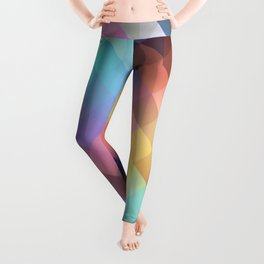 Abstract Colorful Decorative Squares Pattern Leggings