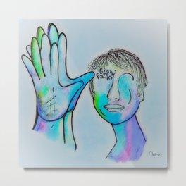 ASL Grandfather in Blue Overtones Metal Print