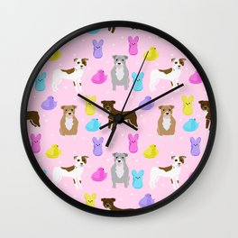 Pitbull dog breed peeps marshmallow easter spring dog pattern gifts pibble Wall Clock