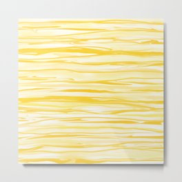 Milk and Honey Yellow Stripes Abstract Metal Print