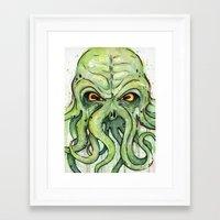 cthulhu Framed Art Prints featuring Cthulhu by Olechka