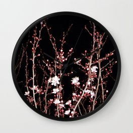Winter night flowers Wall Clock