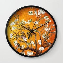 Vincent van Gogh Blossoming Almond Tree (Almond Blossoms) Orange Sky Wall Clock