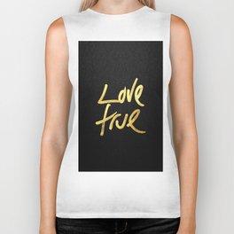"""Love True"" Typography in Faux Painted Gold Biker Tank"