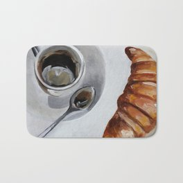 French breakfast, coffee and croissant, original oil painting, daily art Bath Mat