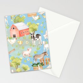 Farm Life - Little Cute Animals In A Meadow - On Blue  Stationery Cards