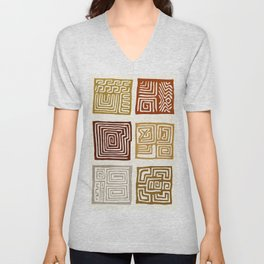 African Ceremonial Pattern Unisex V-Neck