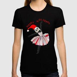Happy Holidays Secret Santa Panda Ballerina T-shirt