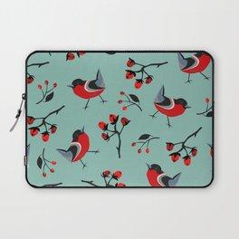 Bird Seamless Pattern. Bullfinch birds Laptop Sleeve