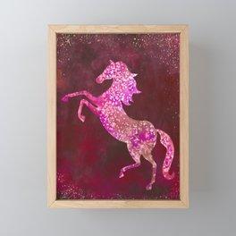 Fiery Red Flaming Celestial Horse Framed Mini Art Print