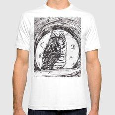 Night Owl v.1 Mens Fitted Tee MEDIUM White