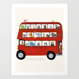 the big little red bus Art Print