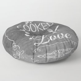 Cooked with Love Retro Chalkboard Sign Floor Pillow