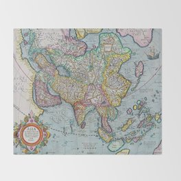 Vintage map of Asia Throw Blanket