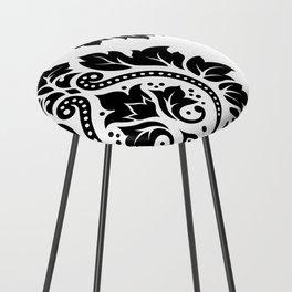 Decorative Damask Art I Black on White Counter Stool