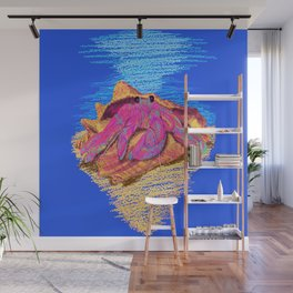 Colorful hermit crab in conch shell - Dark Blue Wall Mural
