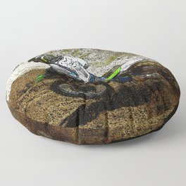 Round the Bend - Dirt-Bike Racing Floor Pillow