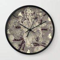 ganesh Wall Clocks featuring Ganesh by nu boniglio
