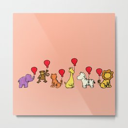 Nursery Jungle Animals with Balloons Can Be Personalized! Metal Print