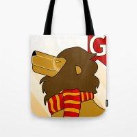 gryffindor Tote Bags featuring Gryffindor Lion by makoshark