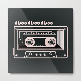 Black and White Disco Music Cassette Metal Print