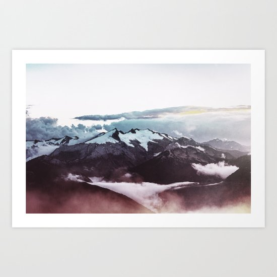 Faded mountain Art Print