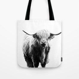 Newspaper Print Style Highland Cow. Scotland, Bull, Horns. Tote Bag