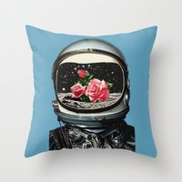 eugenia loli Throw Pillows featuring Spring Crop at the Rosseland Crater by Eugenia Loli