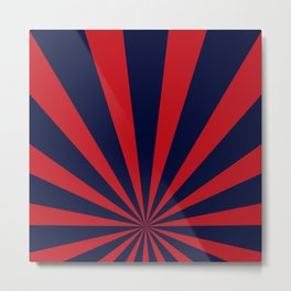 Retro dark blue and red sunburst style abstract background. Metal Print