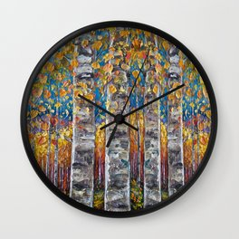 Colourful Autumn Aspen Trees Wall Clock
