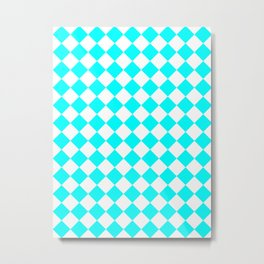 Diamonds - White and Aqua Cyan Metal Print