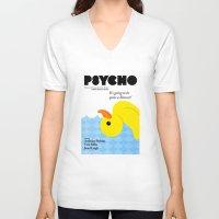 psycho V-neck T-shirts featuring Psycho by Chá de Polpa