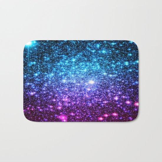 Glitter Galaxy Stars : Turquoise Blue Purple Hot Pink Ombre Bath Mat