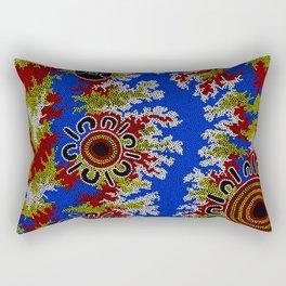 Authentic Aboriginal Art - Waterholes Corela Rectangular Pillow