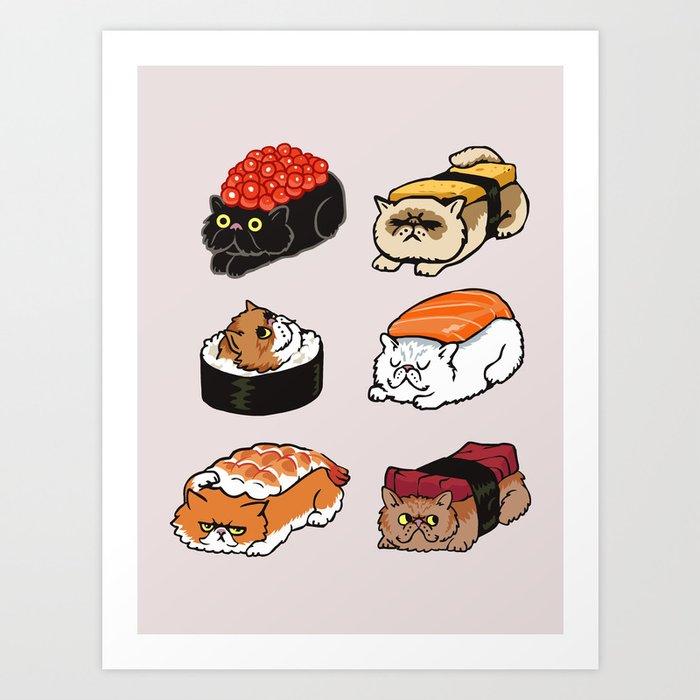 Sushi Persian Cat Art Print