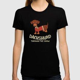Dachshund Through the Snow Reindeer Dog Christmas T-shirt