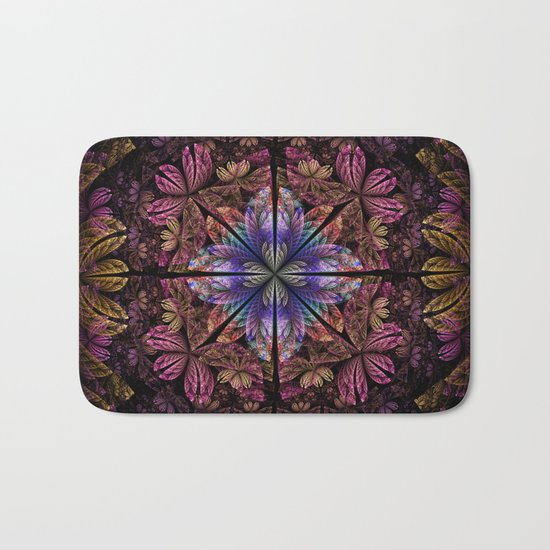 Flowers and petals in a breeze, fractal pattern abstract. Bath Mat