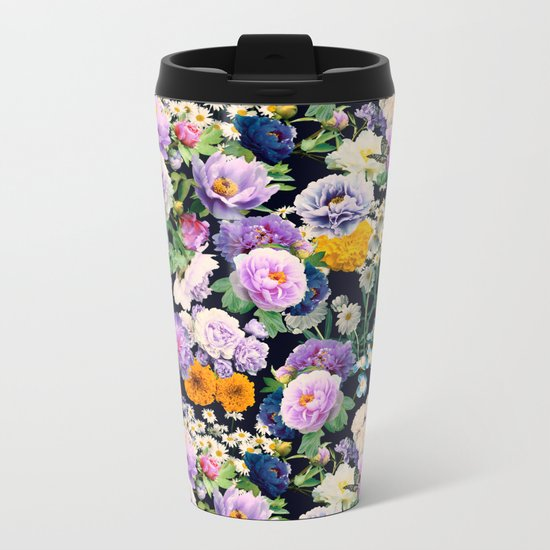 Seamless Nature Flowers Pattern Metal Travel Mug