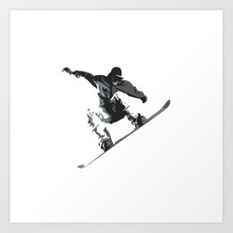 Snowboard Jumping Cartoon Art Print